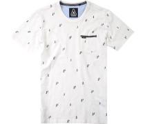Herren T-Shirt, Baumwolle, weiß gemustert