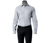 Herren Hemd Slim Fit Stretch-Popeline schwarz-weiß