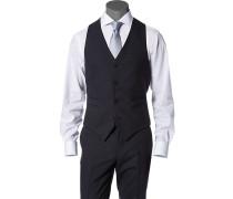 Herren Anzug Weste Extra Slim Fit Woll-Stretch marineblau