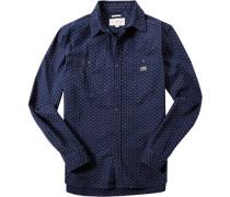 Herren Hemd, Regular Fit, Baumwolle, navy-ecru gemustert blau