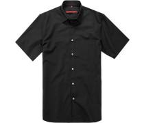 Herren Hemd, Classic Fit, Baumwolle, schwarz