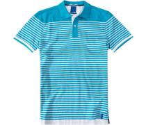 Herren Polo-Shirt Baumwoll-Piqué türkis-weiß gestreift blau