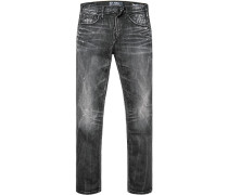 Herren Jeans, Slim Fit, Baumwoll-Stretch, schwarz