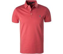 Herren Polo-Shirt, Slim Fit, Baumwoll-Piqué, koralle rot