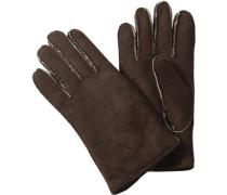 Herren Handschuhe, Lammfell, mocca braun