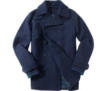 Herren Kurzmantel Woll-Mix navy blau,grün
