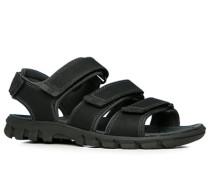 Herren Schuhe Sandalen, Leder, schwarz