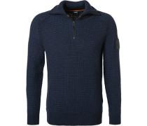 Pullover Troyer Baumwolle-Wolle dunkel meliert
