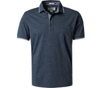Herren Polo-Shirt Baumwoll-Jersey dunkelblau meliert