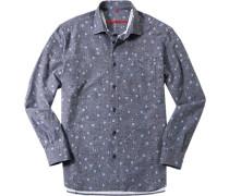 Herren Hemd Classic Fit Twill jeansblau gemustert