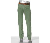 Herren Jeans Pipe Regular Slim Fit Fadeout Twill mit Stretch apfel
