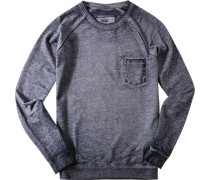 Herren Sweatshirt Baumwoll-Mix navy meliert blau