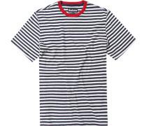 Herren T-Shirt Baumwolle marine-grau gestreift blau