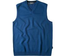 Herren Pullover Pullunder Woll-Mix royalblau