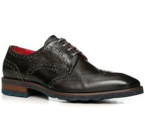 Herren Schuhe Budapester Leder gebrusht carbone grau,rot