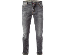 Herren Jeans, Skinny Fit, Baumwoll-Stretch, grau