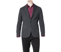 Herren Jersey-Blazer Baumwolle-Mix ungefüttert graphit meliert grau