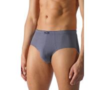 Herren Unterwäsche Slip Baumwoll-Stretch dunkelblau-weiß gemustert braun
