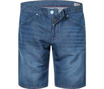 Herren Jeans Shorts Modern Fit Baumwolle-Leinen-Mix indigo blau