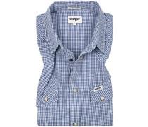 Herren Hemd, Regular Fit, Popeline, weiß-blau kariert