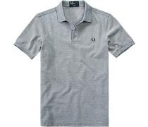 Herren Polo-Shirt Baumwoll-Piqué dunkelblau meliert