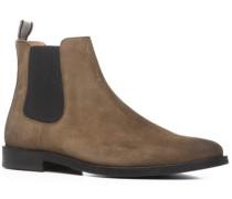 Herren Schuhe Chelsea Boots Veloursleder mittelbraun