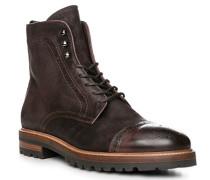 Herren Schuhe Stiefeletten, Leder, testa di moro braun