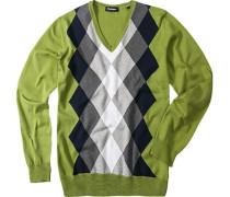 Herren Pullover Baumwolle hellgrün gemustert