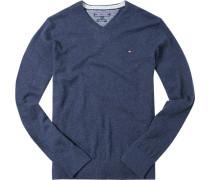 Herren Pullover Lammwolle navy meliert blau