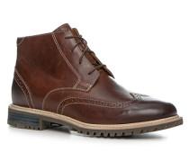Herren Schuhe Schnürstiefeletten, Leder, braun