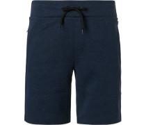 Hose Shorts Baumwolle navy meliert