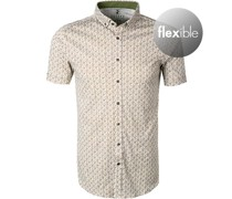Kurzarmhemd Jersey weiß- gemustert