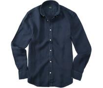 Herren Hemd, Leinen, marineblau