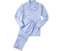 Herren Schlafanzug Pyjama, Baumwolle, hellblau kariert