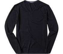 Herren Pullover Schurwolle nachtblau schwarz