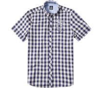 Herren Hemd, Baumwolle, navy-weiß kariert blau