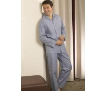 Schlafanzug Pyjama Baumwolle hell-weiß gestreift