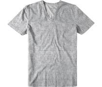 Herren T-Shirt Modern Fit Baumwolle grau gemustert