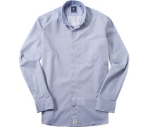 Herren Hemd Modern Fit Popeline blau-weiß gemustert