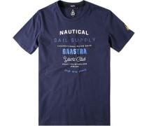 Herren T-Shirt, Baumwolle, navy gemustert blau