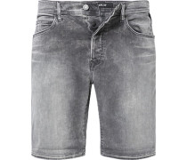 Herren Jeansshorts, Tapered Fit, Baumwoll-Stretch HYPERFLEX STRETCH DENIM 11,5oz, grau