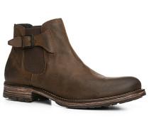 Herren Schuhe Chelsea Boots Kalbveloursleder dunkelbraun braun,blau