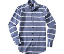 Herren Hemd Modern Fit Popeline rauchblau-weiß gestreift