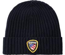 Herren  Blauer. U.S.A. Mütze Kaschmir-Woll-Mix marineblau