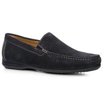 Herren Schuhe Slipper Kalbveloursleder dunkelblau