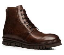 Herren Schuhe Schnürstiefeletten Leder cuoio braun,rot