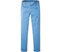 Herren Hose Chino Baumwoll-Stretch azurblau