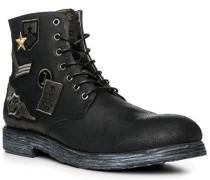 Herren Schuhe Schnürboots, Leder, schwarz