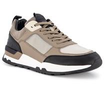 Schuhe Sneaker Leder-Textil taupe