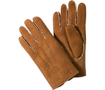 Herren  Handschuhe Lammfell cognac braun